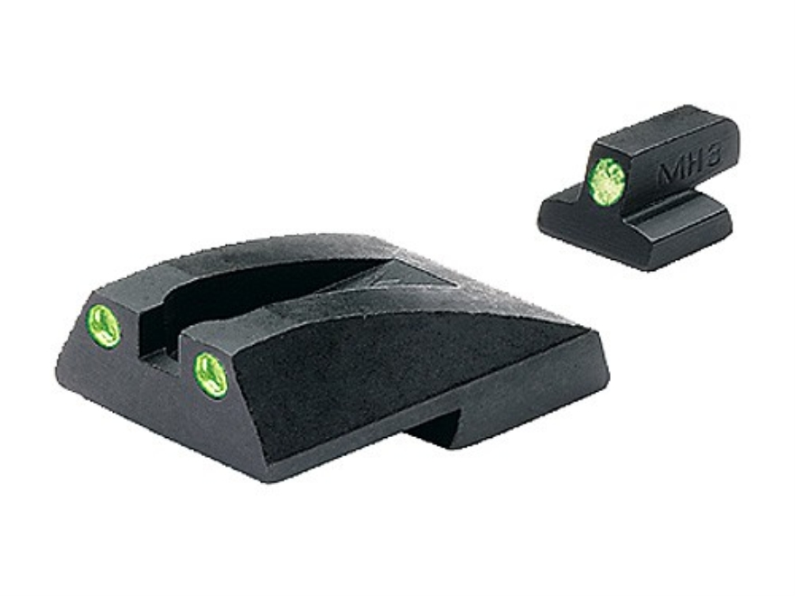 Meprolight Tru-Dot Sight Set S&W 3900, 4000 Novak Front and Rear Cuts Steel Blue Tritiu...