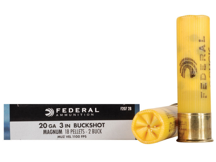 "Federal Power-Shok Ammunition 20 Gauge 3"" Buffered #2 Buckshot 18 Pellets Box of 5"