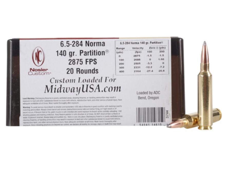 Nosler Custom Ammunition 6.5mm-284 Norma 140 Grain Partition Box of 20