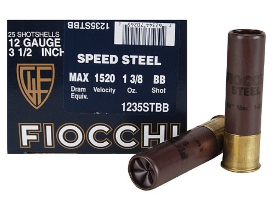 """Fiocchi Speed Steel Ammunition 12 Gauge 3-1/2"""" 1-3/8 oz BB Non-Toxic Steel Shot"""