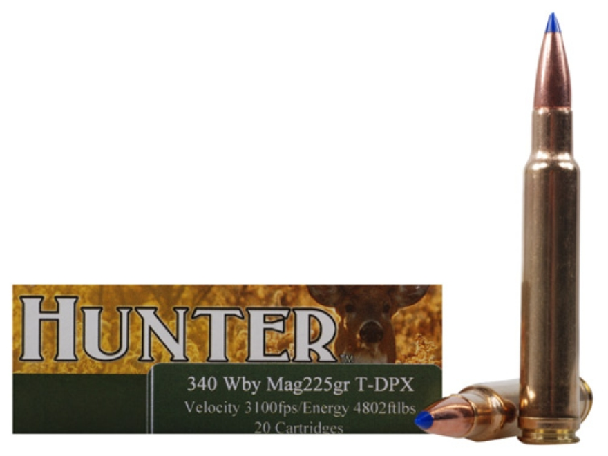 Cor-Bon DPX Hunter Ammunition 340 Weatherby Magnum 225 Grain Tipped DPX Lead-Free Box o...
