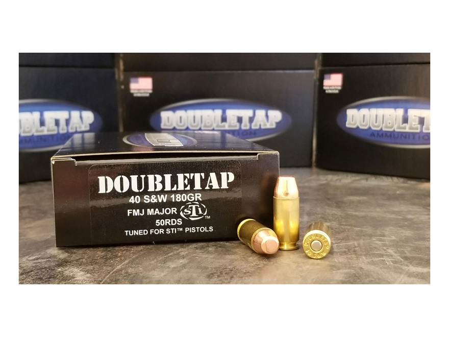 DoubleTap STI Ammunition 40 S&W Major 180 Grain Full Metal Jacket Box of 50