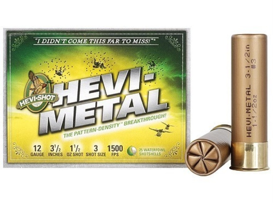 "Hevi-Shot Hevi-Metal Waterfowl Ammunition 12 Gauge 3-1/2"" 1-1/2 oz #3 Hevi-Metal Non-To..."