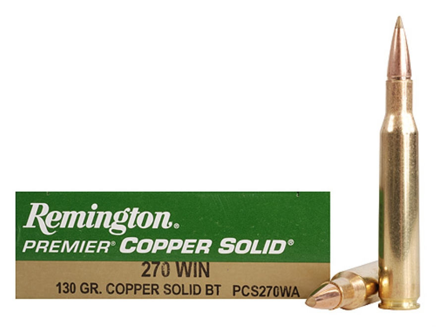 Remington Premier Ammunition 270 Winchester 130 Grain Copper Solid Tipped Boat Tail Lea...