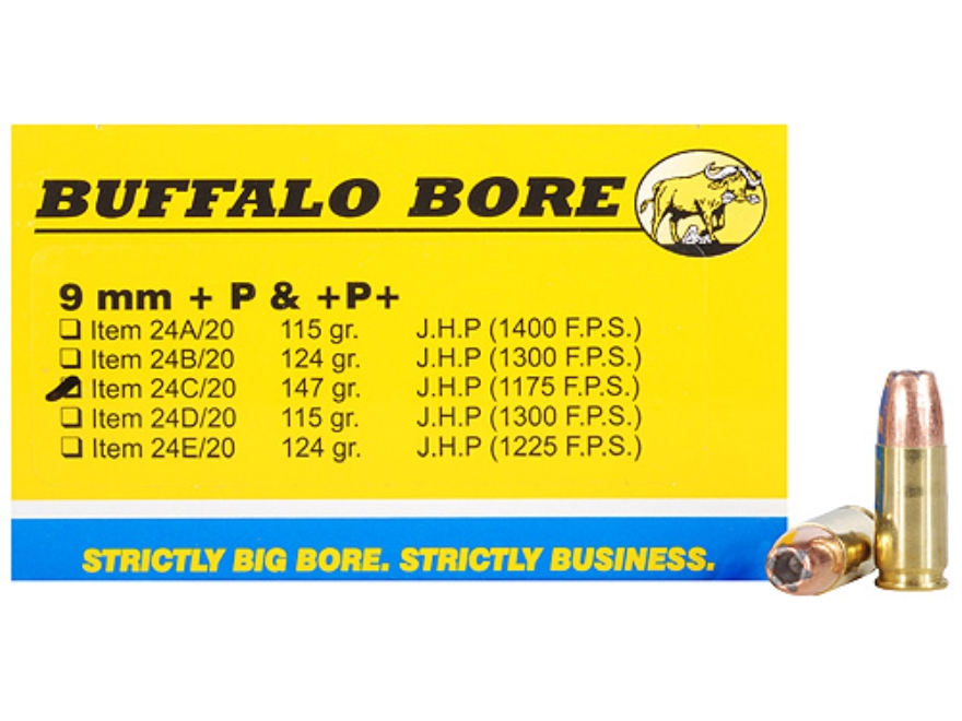 Buffalo Bore Ammunition 9mm Luger +P+ 147 Grain Jacketed Hollow Point Box of 20