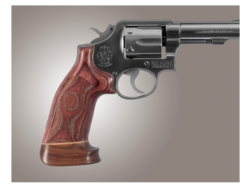 Hogue Fancy Hardwood Grips with Accent Stripe S&W K, L-Frame Square Butt Oversize Check...