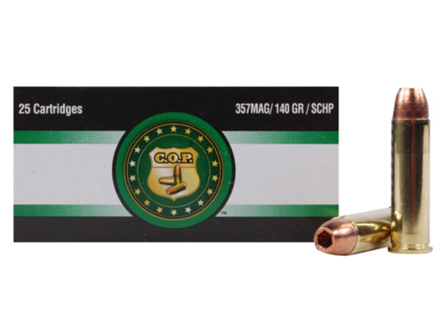 Copper Only Projectiles (C.O.P.) Ammunition 357 Magnum 140 Grain Solid Copper Hollow Po...