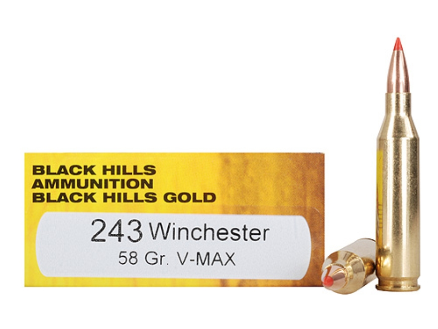 Black Hills Gold Ammunition 243 Winchester 58 Grain Hornady V-Max Box of 20