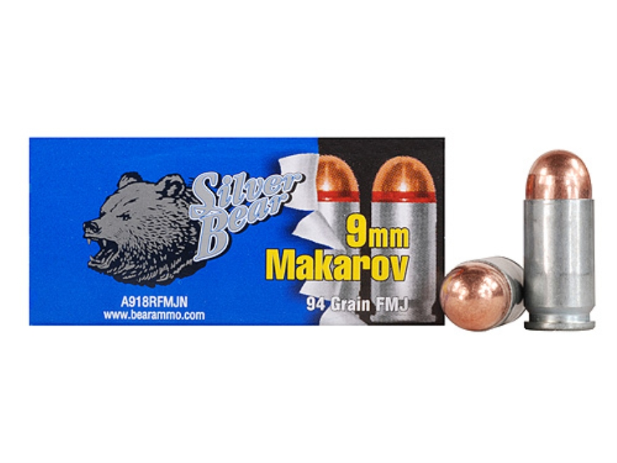 Silver Bear Ammunition 9x18mm (9mm Makarov) 94 Grain Full Metal Jacket (Bi-Metal) Box o...