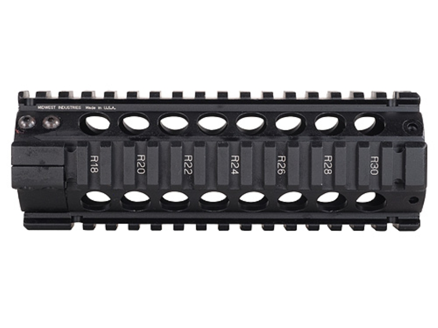 Midwest Industries Gas Piston Free Float Tube Handguard Quad Rail AR-15 Carbine Length ...