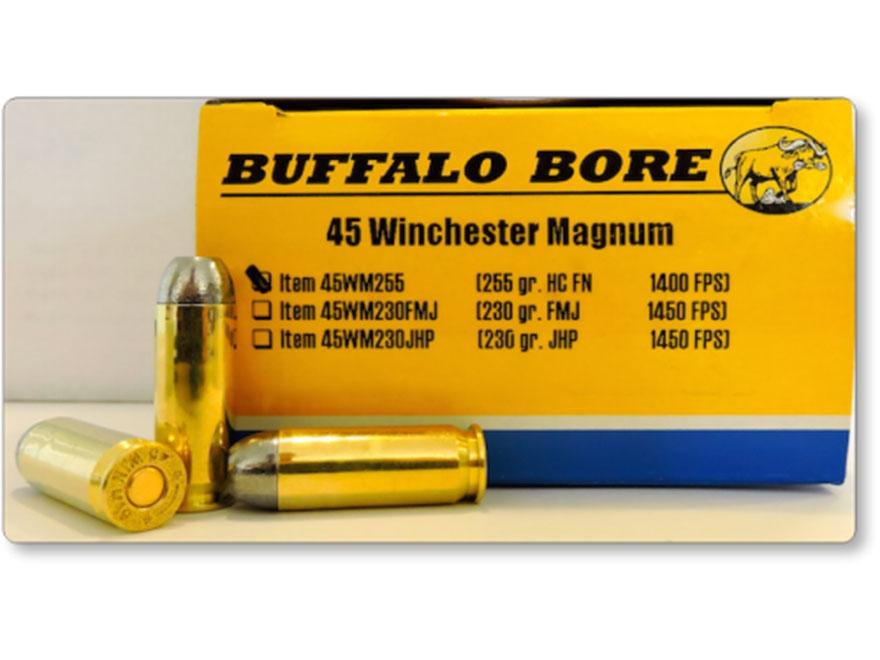 Buffalo Bore Ammunition 45 Winchester Magnum 255 Grain Hard Cast Lead Flat Nose Box of 20