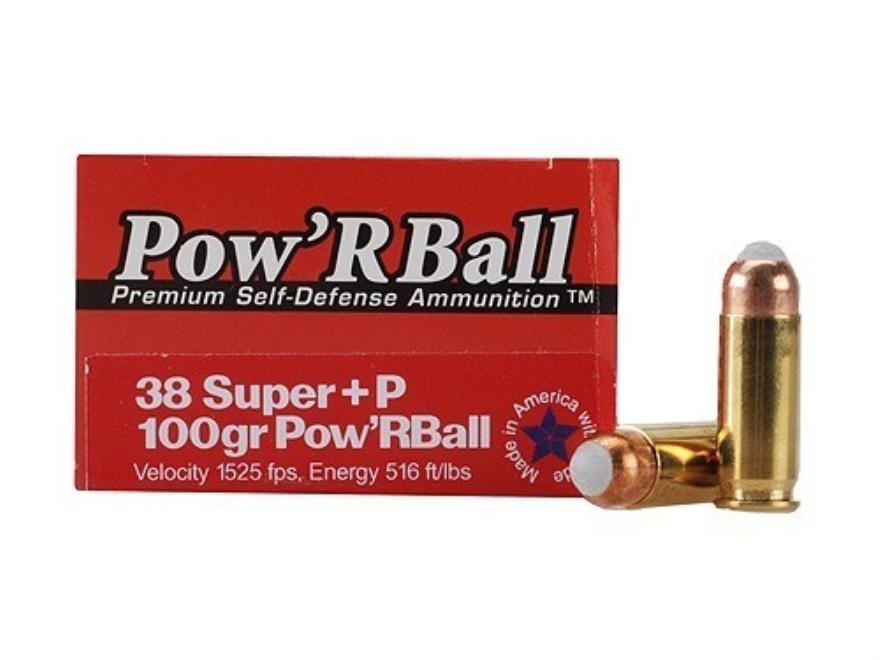 Glaser Pow'RBall Ammunition 38 Super +P 100 Grain Box of 20