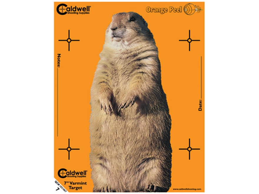 "Caldwell Orange Peel Varmint Targets 7"" Self-Adhesive Silhouette Pack of 10"