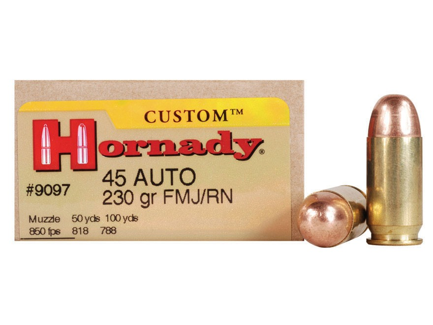 Hornady Custom Ammunition 45 ACP 230 Grain Full Metal Jacket Box of 20