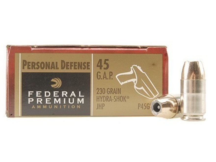 Federal Premium Personal Defense Ammunition 45 GAP 230 Grain Hydra-Shok Jacketed Hollow...