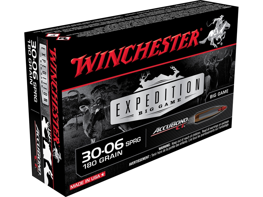 Winchester Expedition Big Game Ammunition 30-06 Springfield 180 Grain Nosler AccuBond B...