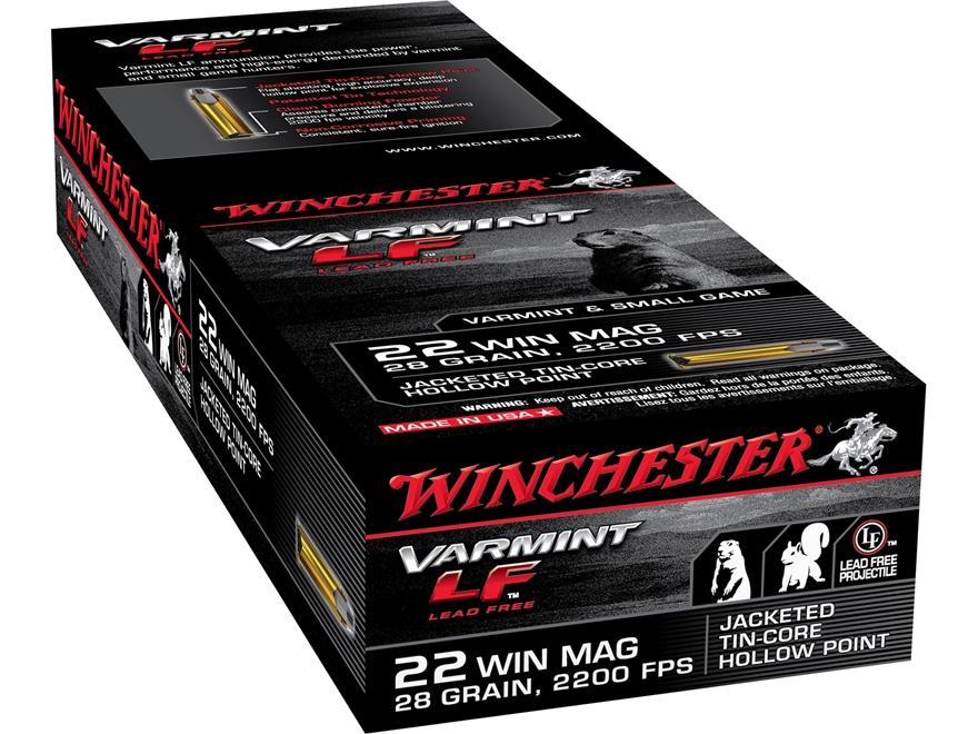 Winchester Super-X Ammunition 22 Winchester Magnum Rimfire (WMR) 28 Grain Jacketed Holl...