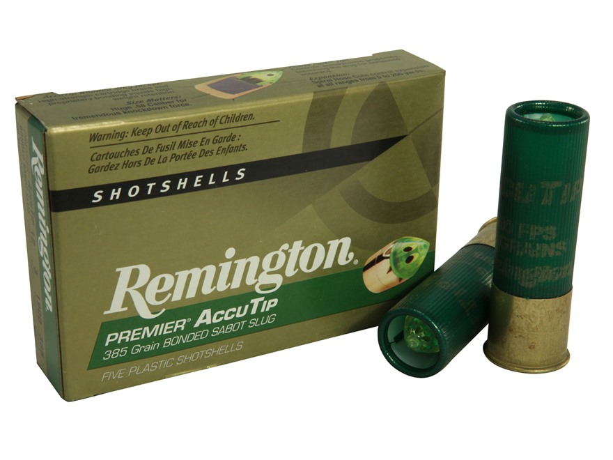 "Remington Premier Ammunition 12 Gauge 3"" 385 Grain AccuTip Bonded Sabot Slug with Power..."