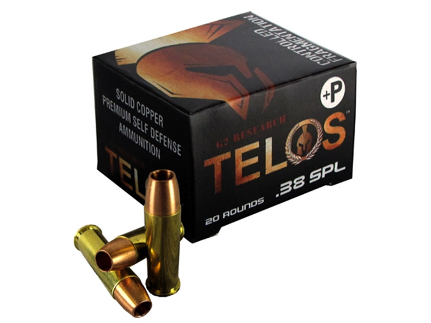 G2 Research Telos Ammunition 38 Special +P 105 Grain Controlled Fragmenting Hollow Poin...