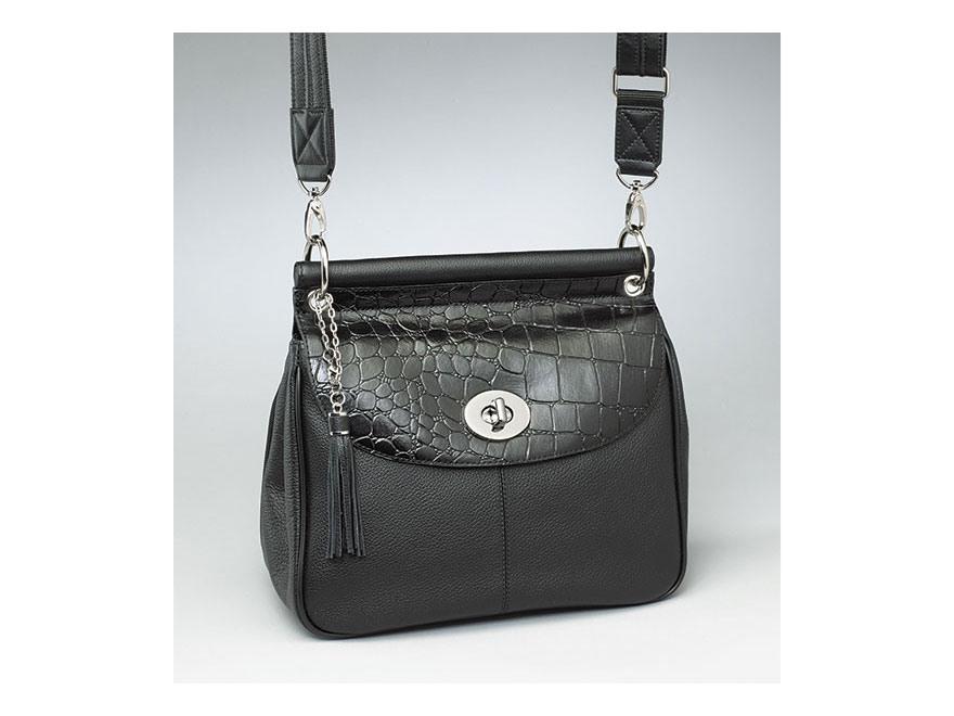 Gun Tote'N Mamas Dowel Top Shoulder Bag Leather Black
