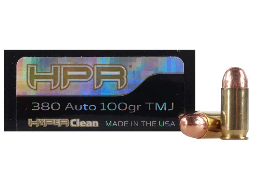 HPR HyperClean Ammunition 380 ACP 100 Grain Total Metal Jacket Box of 50