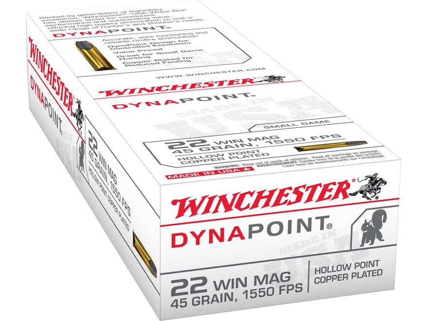 Winchester Dynapoint Ammunition 22 Winchester Magnum Rimfire (WMR) 45 Grain Plated Lead...