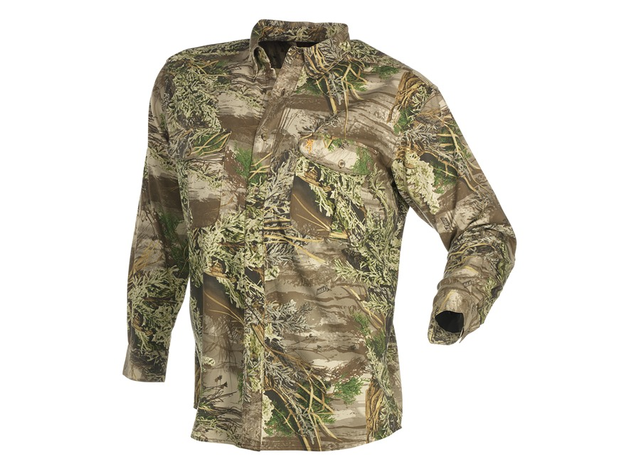 Browning Men's Wasatch Shirt Long Sleeve Cotton Polyester Blend Realtree Max-1 Camo Lar...