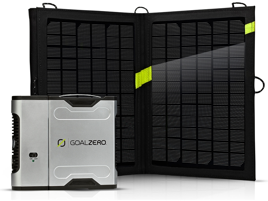 GoalZero Sherpa 50 Solar Recharging Kit with Nomad 13 and 110 Volt Inverter