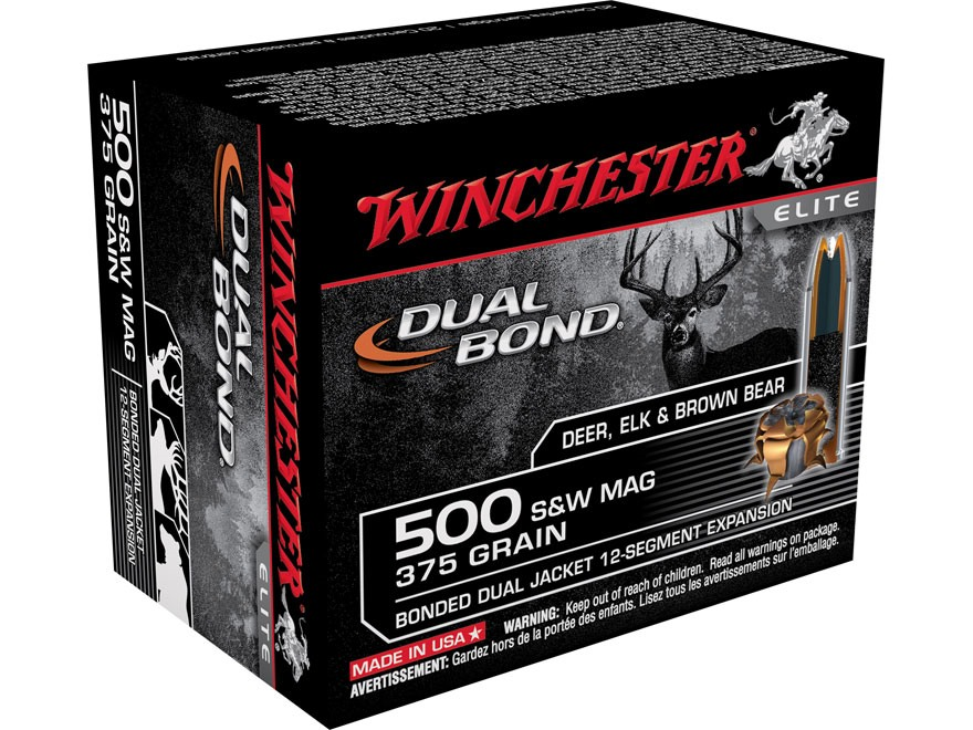 Winchester Dual Bond Ammunition 500 S&W Magnum 375 Grain Jacketed Hollow Point