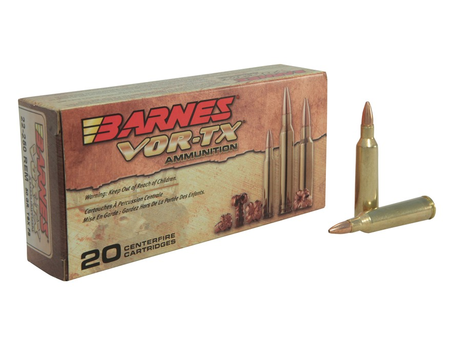 Barnes VOR-TX Ammunition 22-250 Remington 50 Grain Triple-Shock X Bullet Hollow Point L...