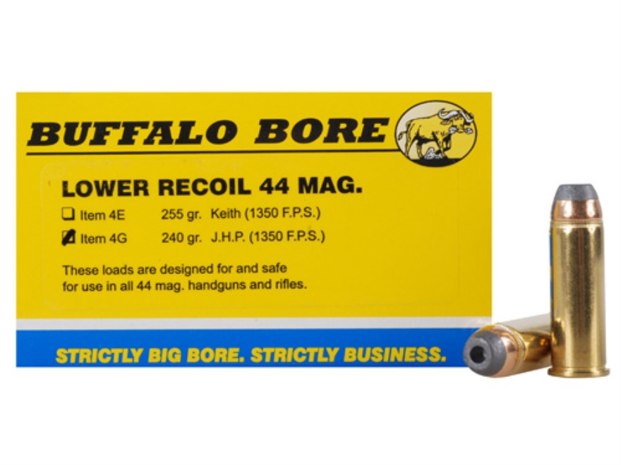 Buffalo Bore Ammunition 44 Remington Magnum 240 Grain Jacketed Hollow Point Low Recoil ...