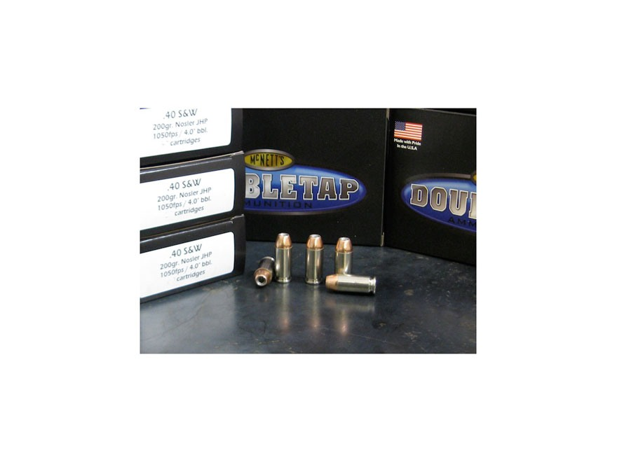 Doubletap Ammunition 40 S&W 200 Grain Nosler Jacketed Hollow Point Box of 20
