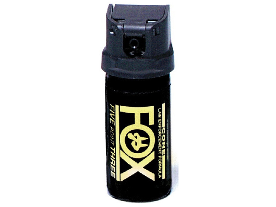 Fox Labs Pepper Spray Aerosol Flip Top Cone Fog 2% OC and UV Dye Black