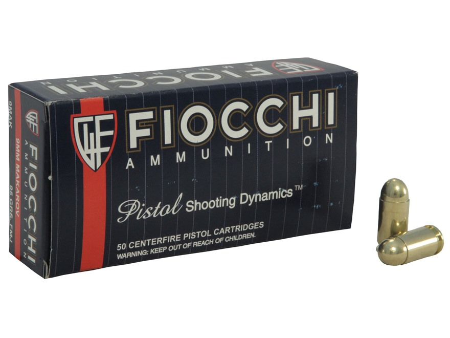 Fiocchi Shooting Dynamics Ammunition 9x18mm (9mm Makarov) 95 Grain Full Metal Jacket Bo...