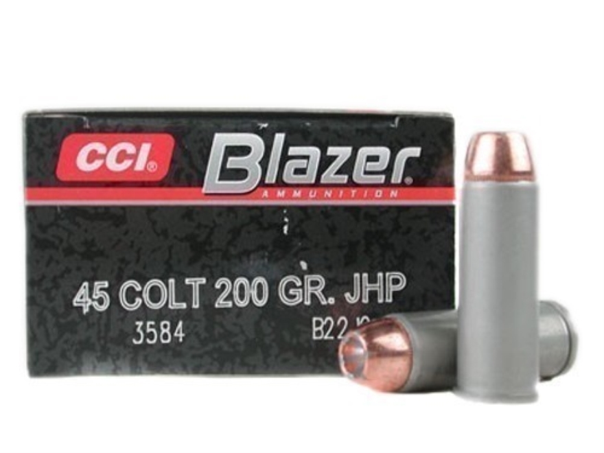 Blazer Ammunition 45 Colt (Long Colt) 200 Grain Jacketed Hollow Point Box of 50