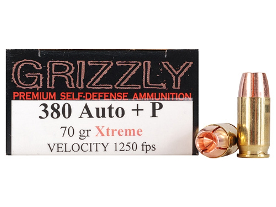 Grizzly Self-Defense Ammunition 380 ACP +P 70 Grain Xtreme Copper Hollow Point Lead-Fre...