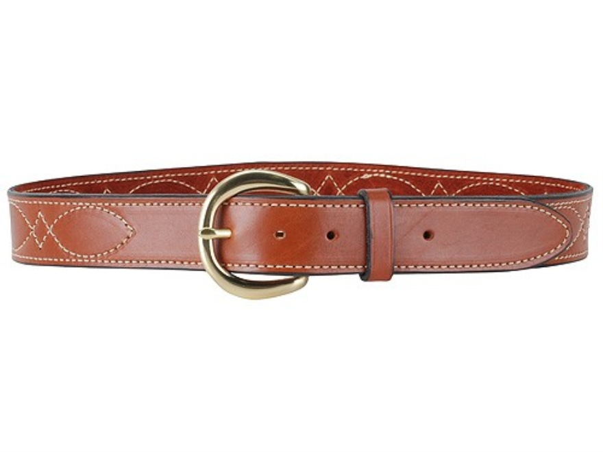 "Hunter 5803 Pro-Hide Belt 1-1/2"" Brass Buckle Stitched Leather Brown 34"""