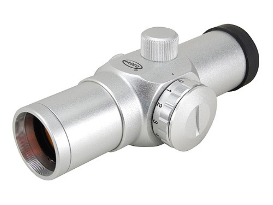 ADCO E-Dot Red Dot Sight 30mm Tube 1x 3 MOA Dot with Weaver-Style Rings Silver