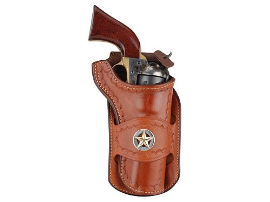 Ross Leather Classic Belt Holster with Tooling and Conchos Single Action Leather Tan