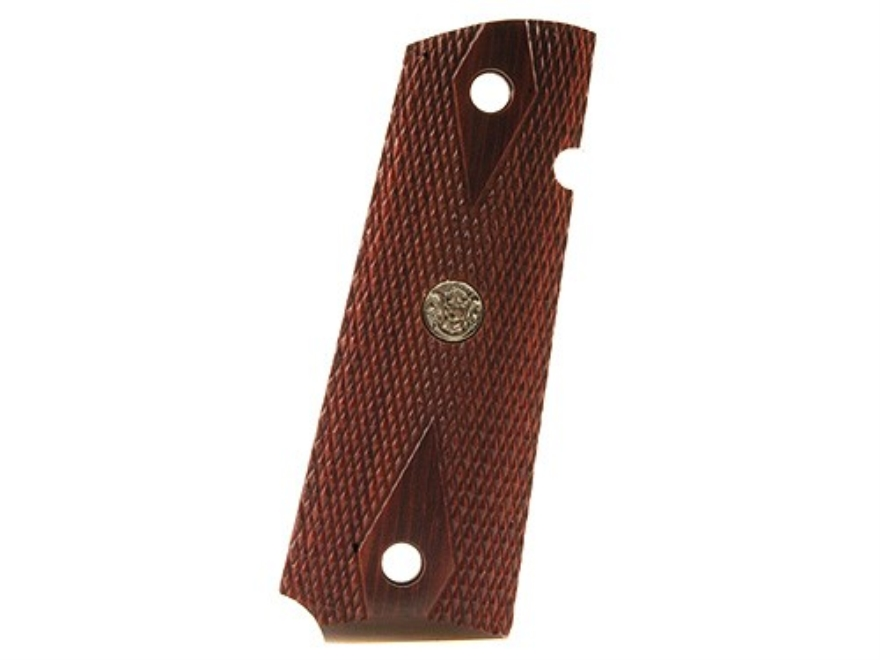 Smith & Wesson Factory Grips 1911 Government, Commander Checkered Rosewood with Medallions