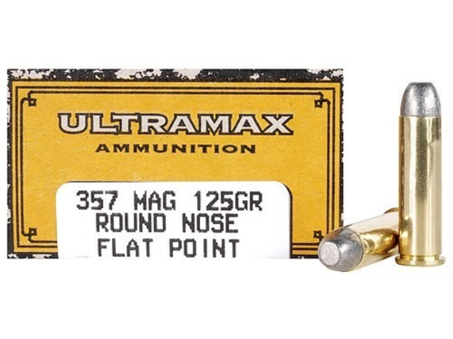 Ultramax Cowboy Action Ammunition 357 Magnum 125 Grain Lead Flat Nose Box of 50
