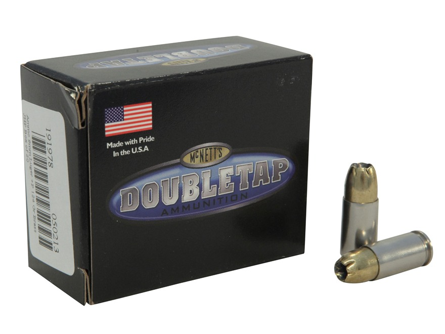 Doubletap Ammunition 9mm Luger +P 124 Grain Brass Jacketed Hollow Point Box of 20