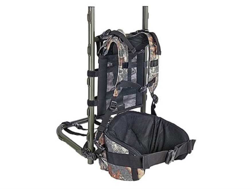 allen pack frame backpack with padded shoulder straps and hip belt mossy oak break up