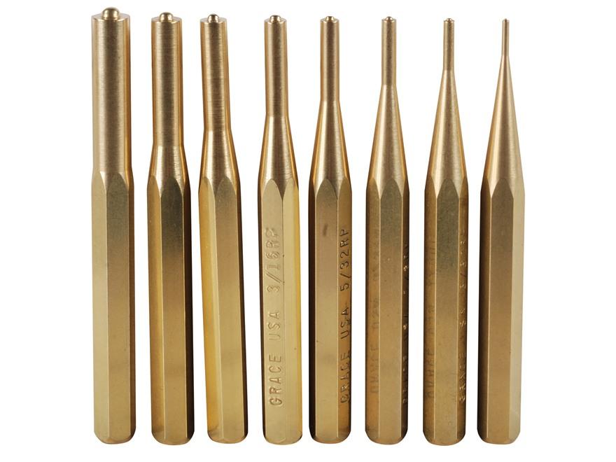 Grace USA Roll Pin Punch Set 8-Piece Brass