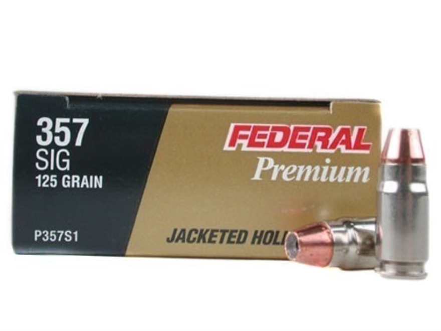 Federal Premium Personal Defense Ammunition 357 Sig 125 Grain Jacketed Hollow Point Box...