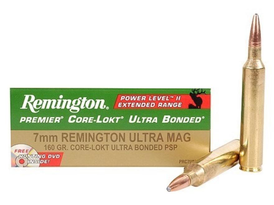 Remington Premier Power Level 2 Ammunition 7mm Remington Ultra Magnum 160 Grain Core-Lo...