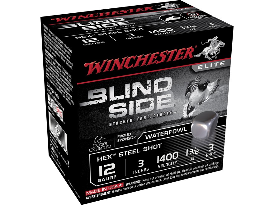 "Winchester Blind Side Ammunition 12 Gauge 3"" 1-3/8 oz #3 Non-Toxic Steel Shot"