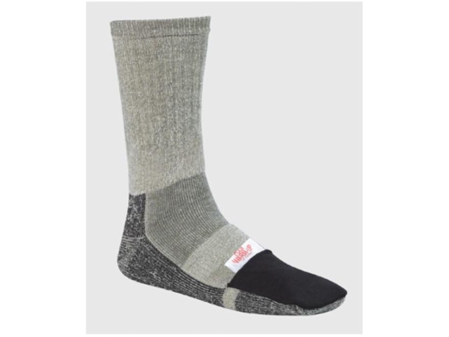 Wise Hunters Mid-Calf Sock with Warmer Pocket Wool Blend Gray and Black 10-13