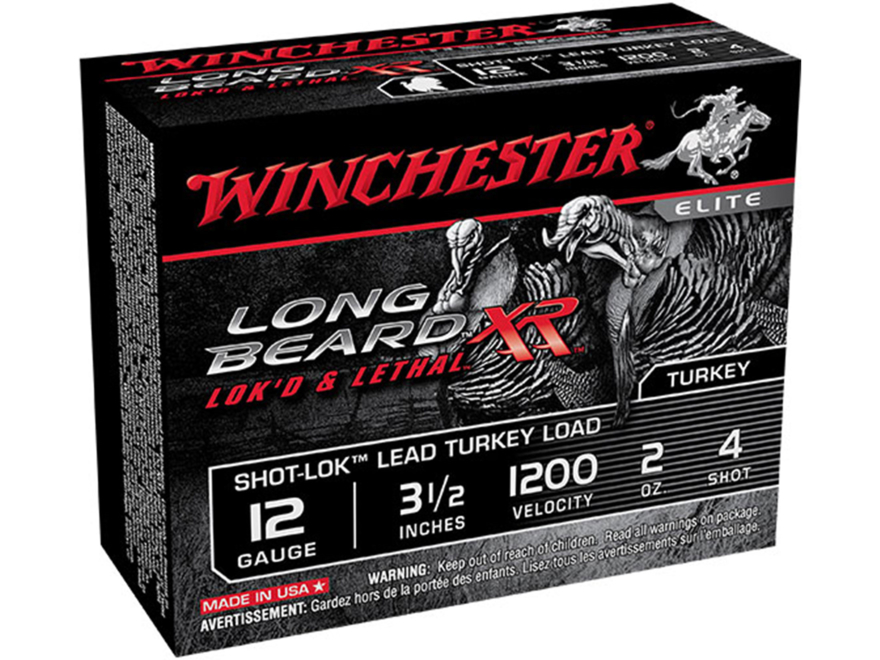 "Winchester Long Beard XR Turkey Ammunition 12 Gauge 3-1/2"" 2 oz #4 Copper Plated Shot"