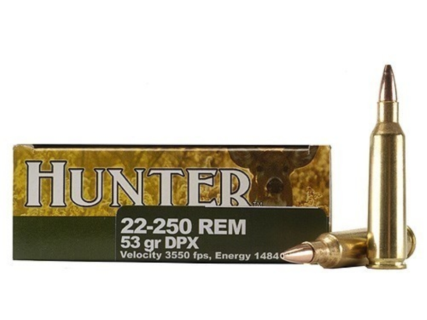 Cor-Bon DPX Hunter Ammunition 22-250 Remington 53 Grain DPX Hollow Point Lead-Free Box ...